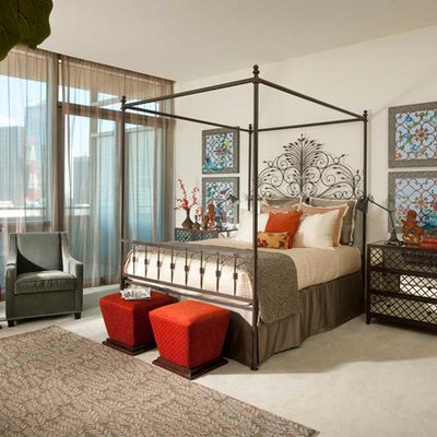 Bedroom - large eclectic master carpeted bedroom idea in Dallas with white walls and no fireplace