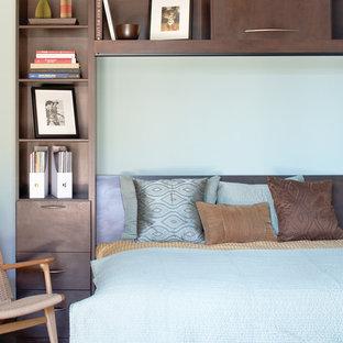 Ejemplo de dormitorio principal, tradicional renovado, grande, con paredes azules y moqueta