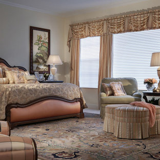 Bedroom - huge traditional master carpeted bedroom idea in Miami with yellow walls