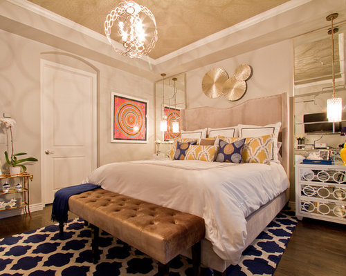 Mid sized trendy master dark wood floor and brown bedroom photo in  Denver with Navy Gold Bedroom Ideas And Photos Houzz