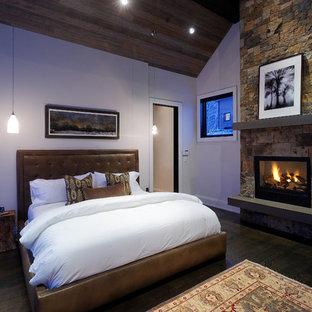 Foto de dormitorio rústico con marco de chimenea de piedra y chimenea tradicional