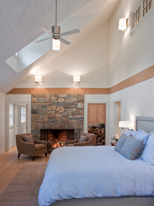 Half vaulted ceiling houzz Master bedroom with sloped ceiling