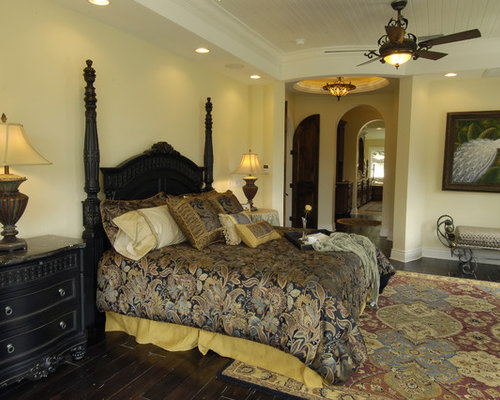 Mediterranean yellow bedroom design ideas renovations for Annmarie ruta elegant interior designs