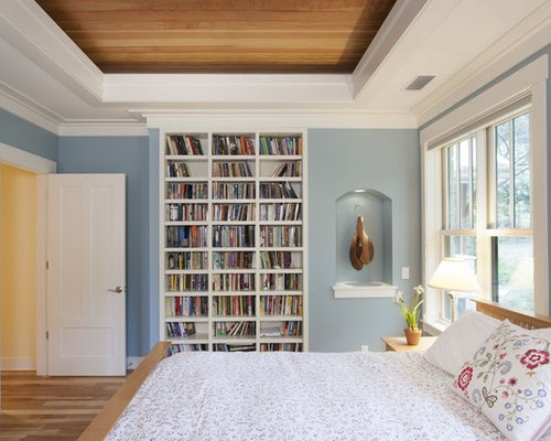 blue bedroom walls. Example of a trendy bedroom design in Austin with blue walls Blue Bedroom Walls  Houzz