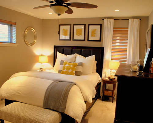 Elegant Bedroom Photo In Dallas With Beige Walls And Carpet