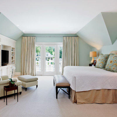 Elegant master carpeted bedroom photo in Cincinnati with blue walls and no fireplace