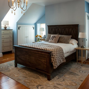 Example of a mid-sized cottage master light wood floor bedroom design in Philadelphia with blue walls and no fireplace