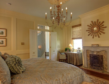 Master Bedroom in Blues, Tans & Golds