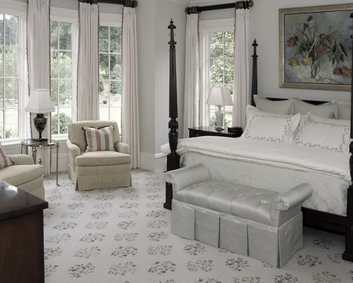 Example Of A Classic Bedroom Design In Atlanta With Gray Walls And Carpet