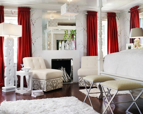 Eclectic Master Dark Wood Floor Bedroom Idea In Miami With White Walls And A Standard Fireplace