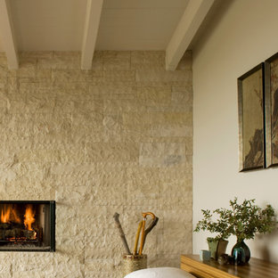 Inspiration for a 1960s master bedroom remodel in Orange County with a standard fireplace