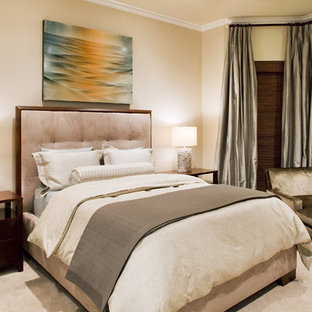 Trendy master carpeted bedroom photo in Austin with beige walls and no fireplace