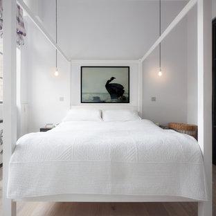 Ispirazione per una camera matrimoniale scandinava con pareti bianche e parquet chiaro