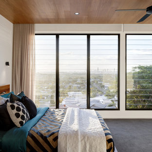 This is an example of a contemporary bedroom in Brisbane with white walls, carpet, grey floor and wood.