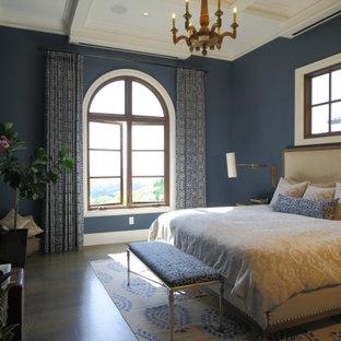 Idéer för ett stort klassiskt huvudsovrum, med blå väggar, mellanmörkt trägolv och grått golv