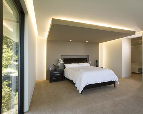Inspiration for a contemporary master carpeted bedroom remodel in San Francisco with white walls & Perimeter Lighting   Houzz azcodes.com