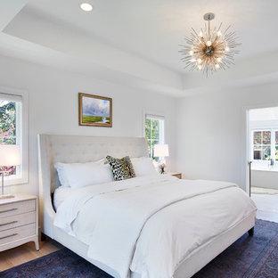 Mittelgroßes Klassisches Hauptschlafzimmer ohne Kamin mit weißer Wandfarbe, hellem Holzboden und beigem Boden in Minneapolis
