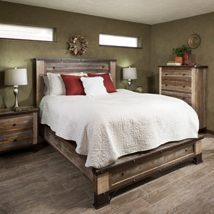 Mid-sized arts and crafts master bedroom in Other with ceramic floors.