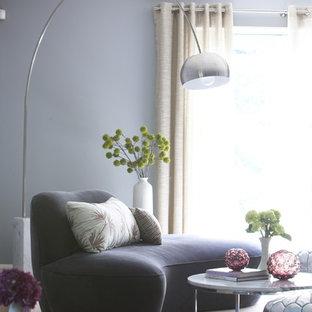 Modelo de habitación de invitados contemporánea, sin chimenea, con paredes grises y suelo de madera en tonos medios