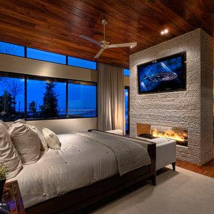 Foto på ett funkis sovrum, med beige väggar, mellanmörkt trägolv, en spiselkrans i sten och en dubbelsidig öppen spis