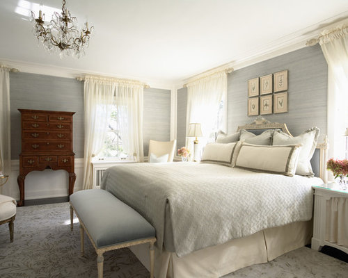 Example Of A Mid Sized Classic Master Carpeted Bedroom Design In  Minneapolis With Gray Walls