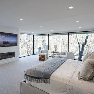 Пример оригинального дизайна: большая хозяйская спальня в стиле современная классика с белыми стенами, ковровым покрытием, горизонтальным камином и фасадом камина из штукатурки