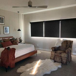 フェニックスの中くらいのサンタフェスタイルのおしゃれな主寝室 (グレーの壁、カーペット敷き、茶色い床、折り上げ天井)