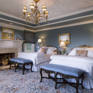 Inspiration for a timeless master carpeted bedroom remodel in Bridgeport with blue walls and a standard fireplace