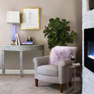 На фото: хозяйская спальня среднего размера в стиле современная классика с серыми стенами, ковровым покрытием, стандартным камином, фасадом камина из каменной кладки и серым полом