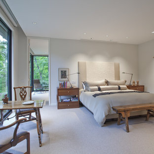Design ideas for a contemporary master bedroom in Chicago with grey walls and carpet.