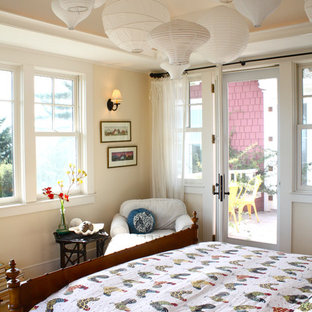 Example Of A Cottage Chic Bedroom Design In San Francisco With Beige Walls