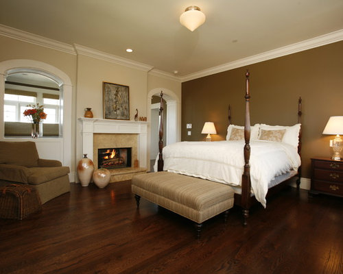 Inspiration For A Timeless Master Dark Wood Floor And Brown Bedroom Remodel In Los Angeles