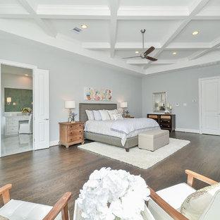 ヒューストンの大きいトランジショナルスタイルのおしゃれな主寝室 (グレーの壁、無垢フローリング、標準型暖炉、漆喰の暖炉まわり、茶色い床)