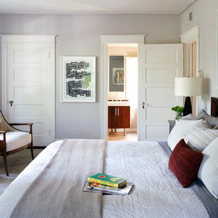 Design ideas for a contemporary bedroom in DC Metro with grey walls.