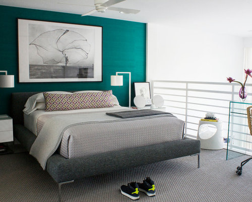 Teal wall bedroom design ideas renovations photos for Teal bedroom designs