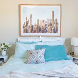 Scandinavian bedroom in Perth with beige walls and carpet.