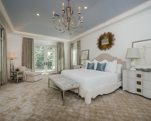 Captivating Elegant Master Carpeted And Beige Floor Bedroom Photo In Tampa With White  Walls