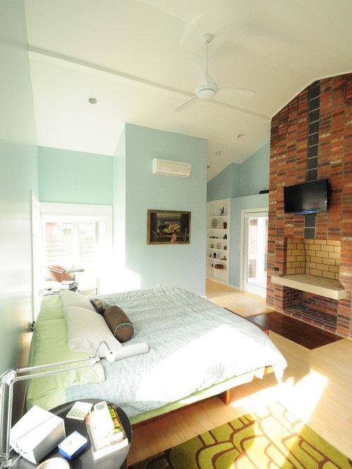 Chambre contemporaine avec un manteau de chemin e en for Taille minimum d une chambre