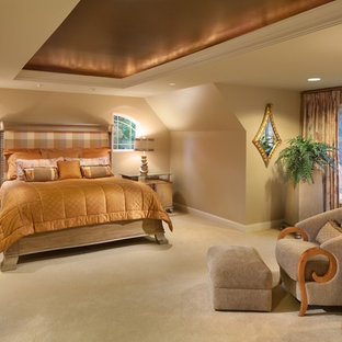 Inspiration for a contemporary master carpeted bedroom remodel in DC Metro with beige walls and no fireplace