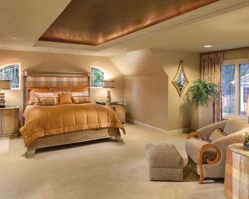 Inspiration For A Contemporary Master Carpeted Bedroom Remodel In DC Metro  With Beige Walls