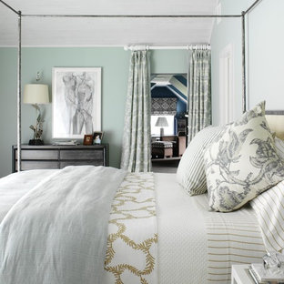 Large coastal guest bedroom photo in New York with green walls and no fireplace