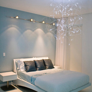 Inspiration for a contemporary bedroom remodel in Miami with blue walls and no fireplace