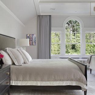 На фото: большая хозяйская спальня в классическом стиле с серыми стенами, ковровым покрытием, стандартным камином, фасадом камина из штукатурки и бежевым полом с