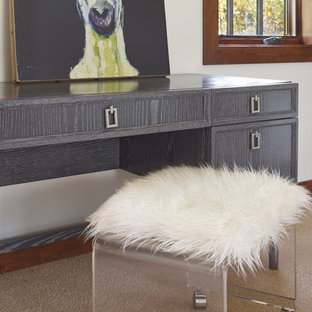 Inspiration for a large contemporary master carpeted bedroom remodel in Other with white walls