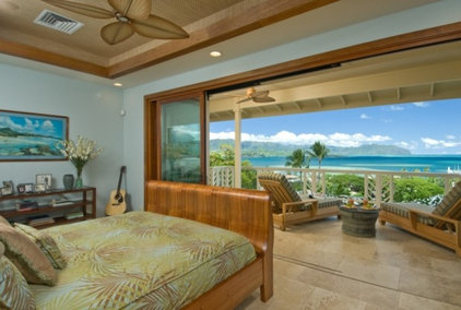 Tropical Bedroom by Archipelago Hawaii Luxury Home Designs
