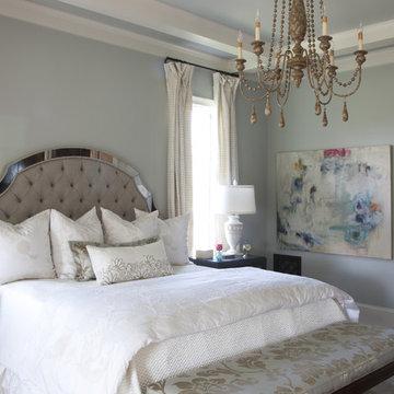 master bedroom w upholstered bed