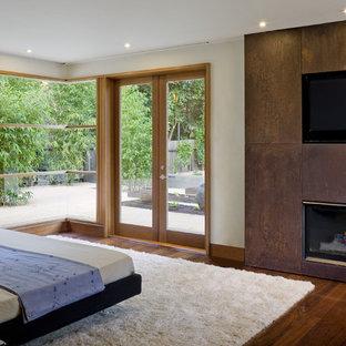 サンフランシスコのコンテンポラリースタイルのおしゃれな主寝室 (ベージュの壁、濃色無垢フローリング、標準型暖炉、金属の暖炉まわり)