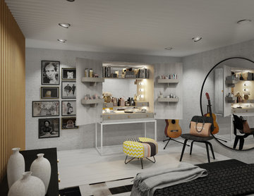 Master bedroom with bespoke made furniture from K*BOX collection