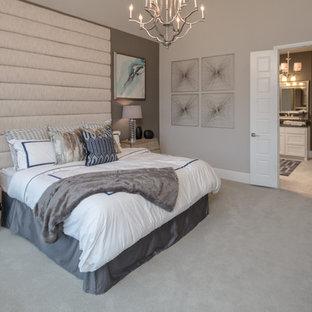 Master Bedroom with handmade fabric headboard