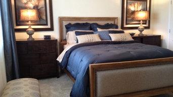 Master Bedroom with linen upholstered headboard